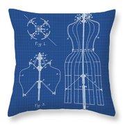 Dress Form Patent 1891 Blueprint Throw Pillow
