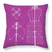 Dress Form Patent 1891 Pink Throw Pillow