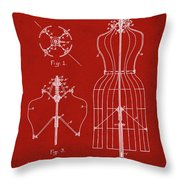 Dress Form Patent 1891 Red Throw Pillow