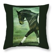 Dressage Horse Caper Throw Pillow