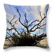 Driftwood And Roots Hunting Island Sc Throw Pillow by Lisa Wooten