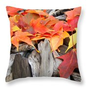 Driftwood Autumn Leaves Art Prints Baslee Troutman Throw Pillow