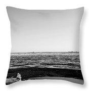 Driftwood On Arctic Beach Balck And White Throw Pillow