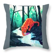 Drinking At The Stream Throw Pillow