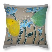 Drinking Coffee At The Blue Orchid Throw Pillow