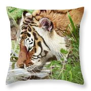 Drinking Tiger Throw Pillow