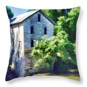 Drinkwater And Schriver Mill Cedar Point Kansas  Throw Pillow