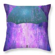 Dripping Poster Purple Rain Throw Pillow