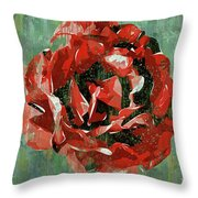 Dripping Poster Rose On Green Throw Pillow