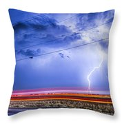 Drive By Lightning Strike Throw Pillow