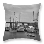 Drive By Tybee Island Shrimp Boat Art Throw Pillow