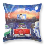 Drive-in Movie Theater Throw Pillow