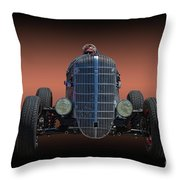 Driver And His Race Car Throw Pillow