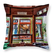 Driver St. Charles Trolley New Orleans Throw Pillow