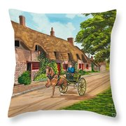 Driving A Jaunting Cart Throw Pillow