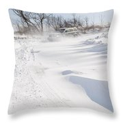 Driving In Drifting Snow Throw Pillow