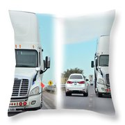 Driving In Reverse Throw Pillow
