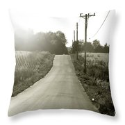 Driving Into The Setting Sun Throw Pillow