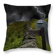 Driving Into The Storm Throw Pillow