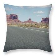 Driving Monument Valley Throw Pillow