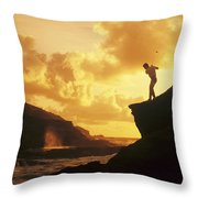 Driving Off A Cliff Throw Pillow