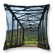 Driving Over Hanalei Bridge Throw Pillow