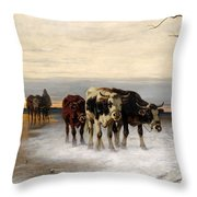 Driving The Herd Home In Wintry Landscape Throw Pillow