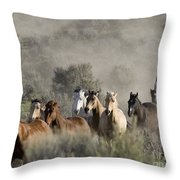 Driving The Horses Throw Pillow