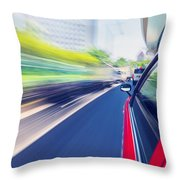 Driving Through The City By Taxi Throw Pillow