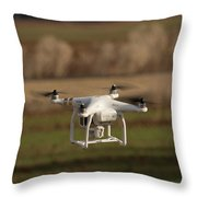 Drone Fly Above The Field Throw Pillow