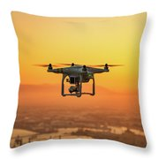 Drone Flying On Sunset Throw Pillow