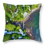 Drone Shot Of Lake 22 Bridge Throw Pillow