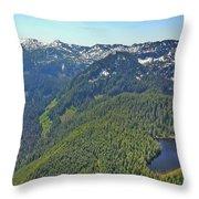Drone Shot Of Lake Evan Throw Pillow