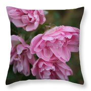 Droopy Pink Roses Throw Pillow