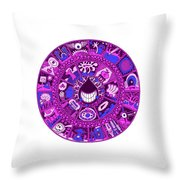 Drop Mandala Purple And Blue Throw Pillow