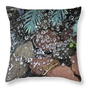 Droplets Over Web Throw Pillow