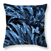 Drops And Blue Grass Throw Pillow