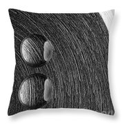Drops On Steel Black And White Throw Pillow