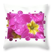 Bubbly Pink Raindrops  Throw Pillow
