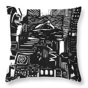 Drowning In Metropolis Throw Pillow