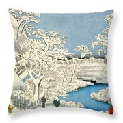 Drum Bridge And Setting Sun Hill At Meguro Throw Pillow by Hiroshige