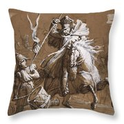 Drummer Boy Attacked By A Cossack Throw Pillow