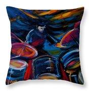 Drummer Craze Throw Pillow