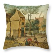 Drunkard Being Taken Home From The Tavern By His Wife Throw Pillow