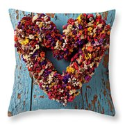 Dry Flower Wreath On Blue Door Throw Pillow by Garry Gay