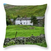 Dry Stone Wall And White Cottage - P4a16022 Throw Pillow