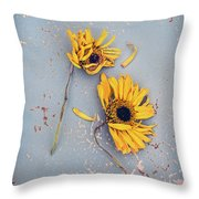 Dry Sunflowers On Blue Throw Pillow