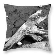 Dry Wood On Barren Land Throw Pillow