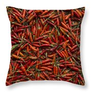 Drying Red Hot Chili Peppers Throw Pillow