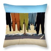 Drying Wet Suits Throw Pillow